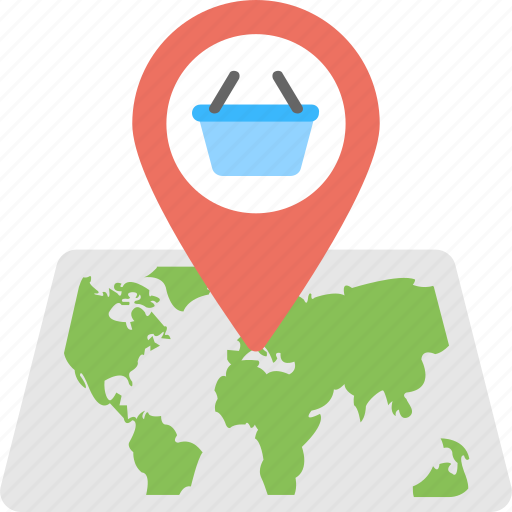 gps navigation concept, shopping cart pointer on map, shopping location, shopping map pointer, store location icon