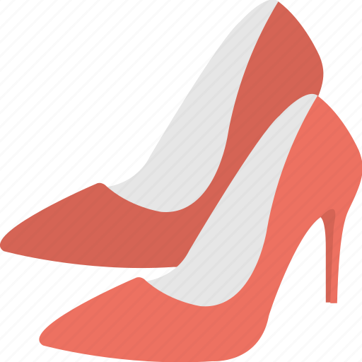 high heels shoes, pair of shoes, pump shoes, red pumps, women shoes icon