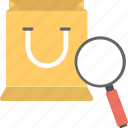 consumerism, search store, shopping analysis, shopping bag magnifier, shopping research icon