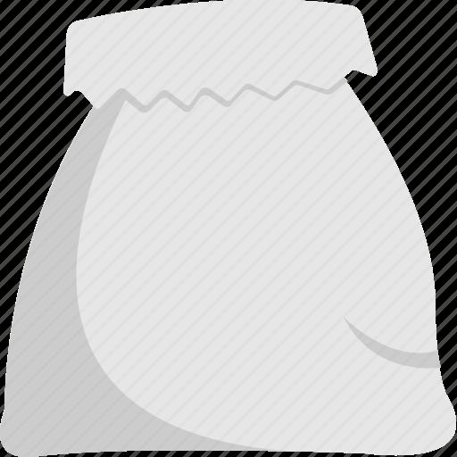 fabric sack, open sack, opened sackcloth bag, sack bag, white sack icon