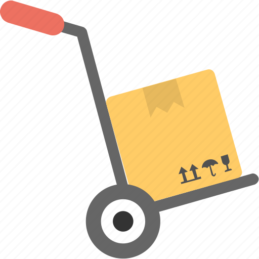 dolly, hand cart, hand truck, platform trolley, warehouse dolly icon