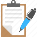 clipboard document, document and pen, note, report, writing icon