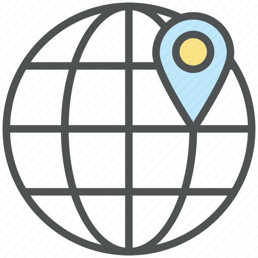 globe location, location pin, location pinned, map marker, map pin, marked location icon