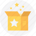 box, delivery, gift, packaging, star, surprize icon