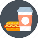 hot dog, coffee, drink, cold drink, fast food