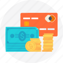 buy now, coins, credit card, paper money, pay, payment method, payment type