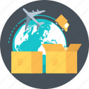 box, color, delivery, package, truck, world icon