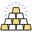 gold bars, gold bricks, gold ingots, stack of gold, sparkling metals icon