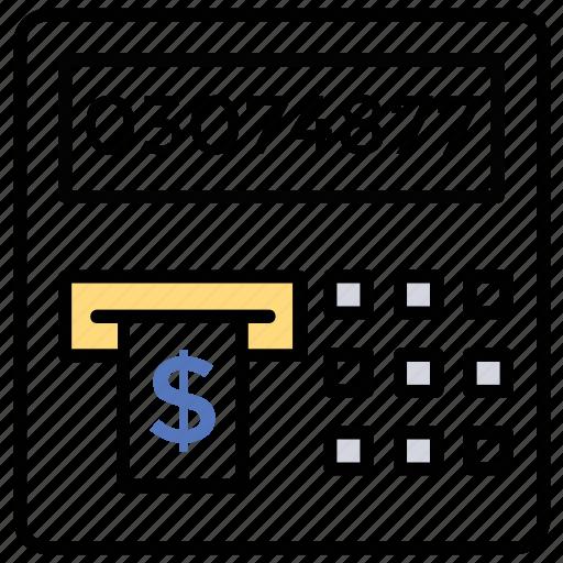 atm machine, cash withdrawal, money dispenser, money transaction, online money transfer icon