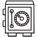bank vault, locker, money safe, safe, valuables depository icon
