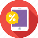 discount, interest, mobile, percentage, rebate icon