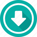 arrow, directional, down, download, navigational icon