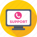customer service, helpline, monitor, receiver, support icon