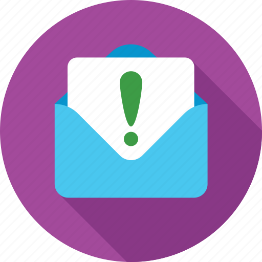 email, envelope, exclamation, message, notification icon