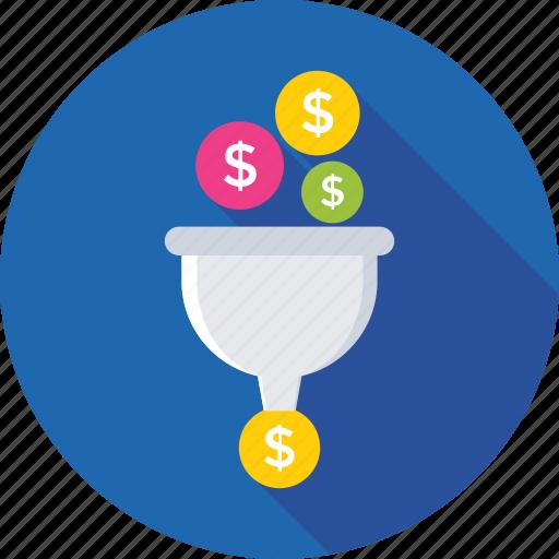 dollar, filter, funnel, money exchange, money filter icon