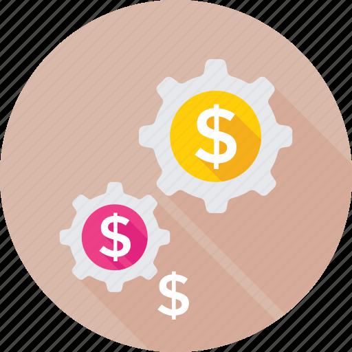 banking, cog, dollar, investment, money icon