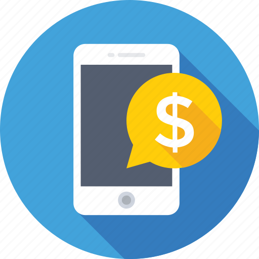 dollar, mcommerce, mobile, smartphone, sms banking icon