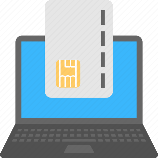 credit card, laptop, online banking concept, online banking services, online payment icon