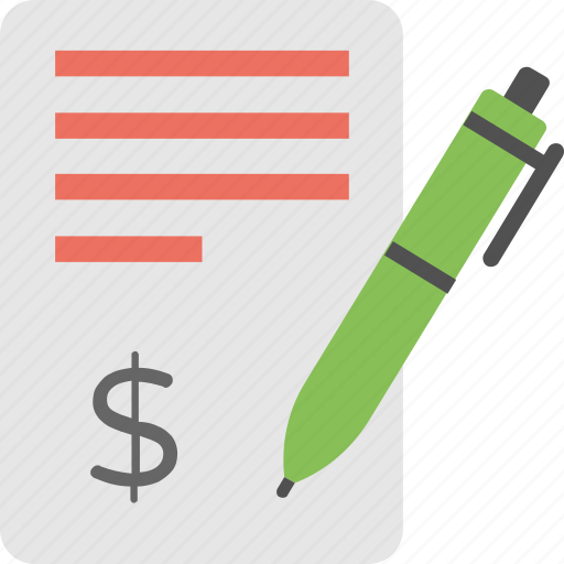 bank statement, document with dollar sign, financial report, invoice with pen, loan application icon