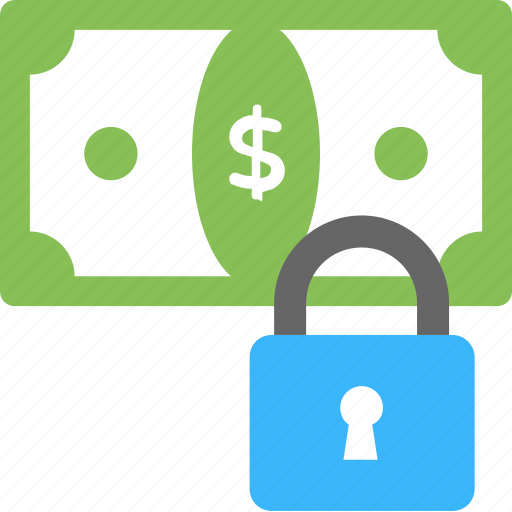 cash lock, money protection, money with padlock, payment security, secure money icon