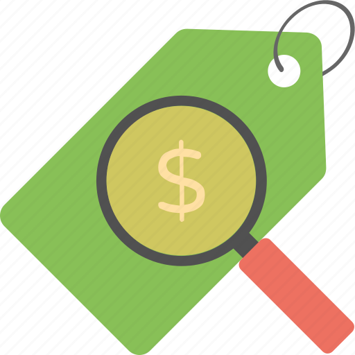looking product price, product label with magnifier, sale plan, sale tag with magnifier, search sale offers icon