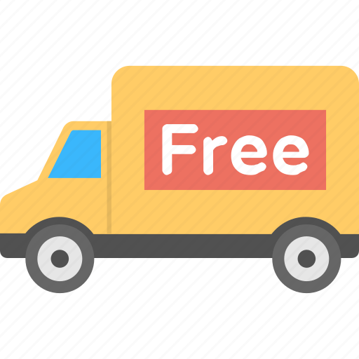 free delivery truck, free delivery van, free shipment, free shipping, shipping offers icon