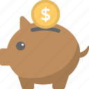 piggy bank, piggy with coin, saving money, financial security, personal savings