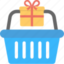 gift basket, gift inside basket, hamper, shopping basket icon