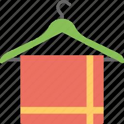 bathroom towel, red towel, towel, towel hanging on hanger, towel on hanger icon