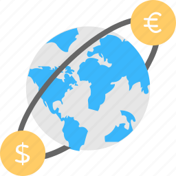currency flow, foreign currency exchange, global money exchange, world currency, world currency market icon
