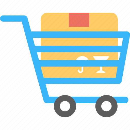 cardboard box inside trolley, commerce, delivery package, package inside trolley, store shopping icon