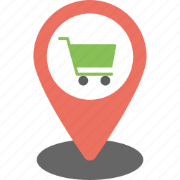 shop location, shopping cart pointer, shopping pin, store location, supermarket map location icon