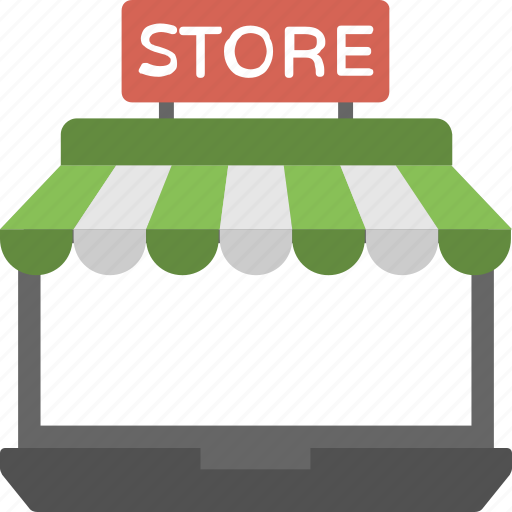 ecommerce website, laptop store, online store website, online store. online shop icon