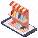 internet market, kiosk, online book, online store, shopping store icon