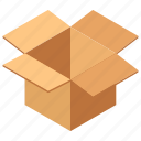 box, delivery box, gift box, gift container, opened box icon