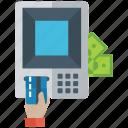 atm machine, automated teller, cash machine, payment terminal, swipe machine, withdraw money icon