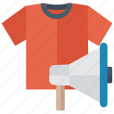 advertisement, cloth advertising, limited edition, limited stock, marketing, publicity, shirt advertisement icon