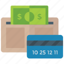 cash in purse, digital money, pocket book, wallet, wallet money icon