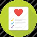 checklist, favorite, favorite list, heart, like icon
