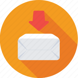 down arrow, download, inbox, interface, mail icon