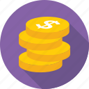 coins, currency, dollar, money, savings icon