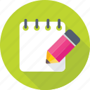agenda, paper, pencil, sheet, writing icon