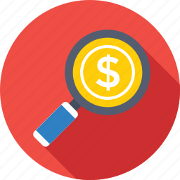commerce, dollar, finance, magnifier, search money icon
