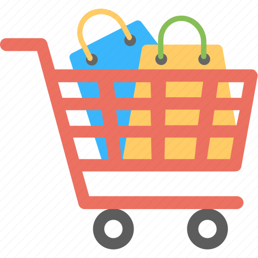 buying, order status, shopping cart with items, shopping stock, trolley bags icon