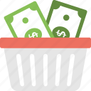 budget planning, financial basket, fund raising, money basket, shopping basket money icon