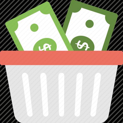 budget planning, financial basket, fund raising, money basket, shopping basket money icon