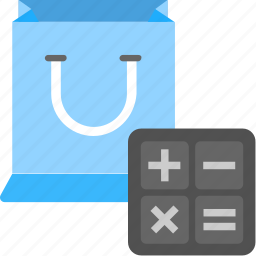 calculator with shopping bag, sale price calculation, shopper calculator, shopping calculation, shopping calculator icon