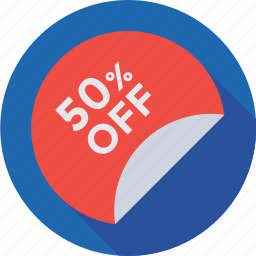 discount badge, discount offer, discount tag, fifty percent, tag icon