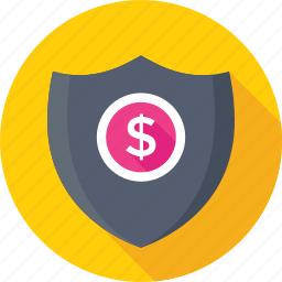 defence, dollar, insurance, protection, shield icon