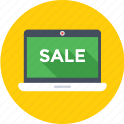 e commerce, laptop, offer, sale, shopping icon